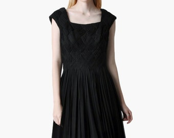 Vintage 50s Black Silk Chiffon Party Dress
