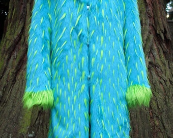 MEN'S long aqua faux FUR COAT with lime green spikes and trim