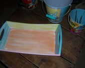 Upcycled Sherbert Colors Coastal Beach Cottage Style Wooden Tray