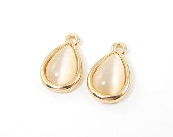 Beige Earring Dangle Gold Earring Drop Faux Moonstone Teardrop Jewelry Components, Peach Beige Cream Earring Charm  O3-11 2