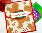 Happy Christmas Gift Card Holder - Gingerbread Men Gift Card Envelope - Holiday Money Holder Card - Holiday Gift Card Holders
