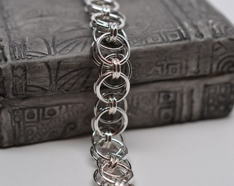 Sterling silver & steel helm parallel chain reversible chainmaille bracelet