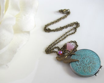 Vintage Shabby Chic Locket Necklace. Flying Sparrow Bird, Pink Czech Flower Pink Swarovski, Antiqued Silver Patina Floral Locket Necklace