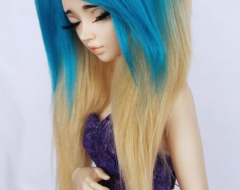 """MSD BJD wig doll Mnf 7"""" Teal and Blonde long in front fake fur wig MonstroDesigns"""