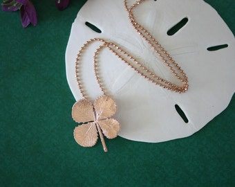 4 Leaf Clover Real Rose Gold, Real Clover, Shamrock, Pink Gold, Irish, Lucky, Four Leaf Clover, RC1