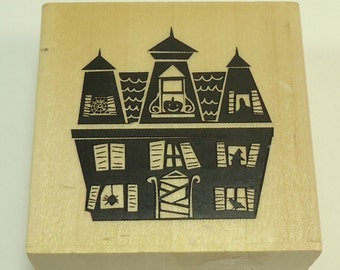 Haunted House Halloween Wood Mounted Rubber Stamp By Sugarloaf