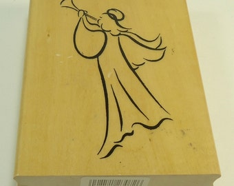 Musical Angel Christmas Wood Mounted Rubber Stamp By Anita's Back Street