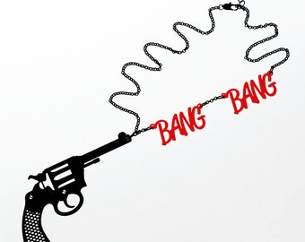Bang Bang Gun Necklace - Laser Cut Necklace (C.A.B. Fayre Original Design)