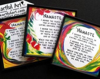 NAMASTE YOGA Meditation MAGNET Inspirational Words Spiritual Blessing Love Fridge Art Quote Kitchen Decor Heartful Art by Raphaella Vaisseau