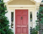 Welcome Front Door Decal • Elegant Lettering Welcome Front Door Add Curb Appeal - Entryway Decor Fall Autumn Decoration Decor Made in USA