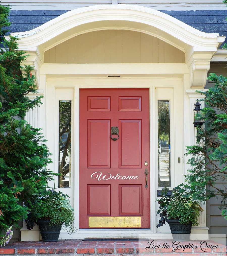 Welcome front door decal elegant lettering welcome front for Elegant front doors
