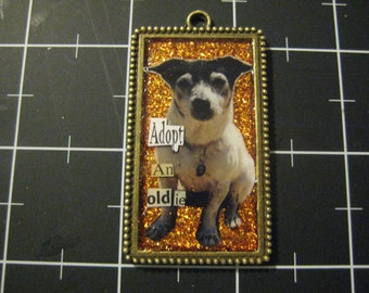 Custom Collaged Pet Pendant, Your Pet's Photo, Colors and Phrase of Your Choice, 50% goes to the current selected animal charity