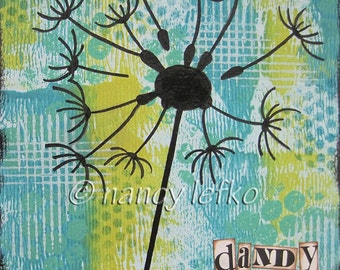 dandy - 6 x 6 ORIGINAL COLLAGE by Nancy Lefko