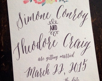 Handwritten save the date, pretty save the date with hand written look