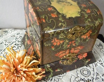 Antique Celluloid Collar and Jewelry Dresser Box Floral with Lovely Woman