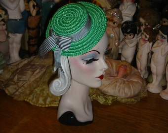 Mini Straw Boater Hat Gatsby Style Kelly Green