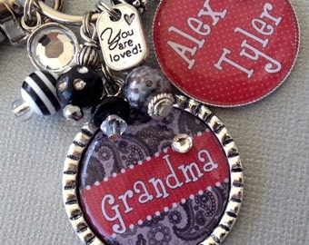 Grandma Keychain, Personalized Gift, Mother's day Gift, Children's Names Purse Clip, Nana, Grammi, Mom, Aunt, You are Loved, birthday gift