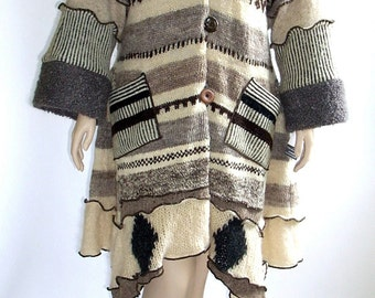 Beige and Tan Striped  Petunia Sweater Coat, Size XL 14 -16 by BrendaAbdullah