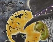 Original Halloween Folk Art Painting Canvas Framed Witch Cat Moon