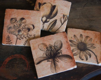 Sepia Botanical tile coaster set