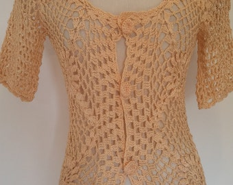 70s boho crochet top, golden thread will look great with a tan. Coachella festival top, knotted crochet buttons.  Size S-M.