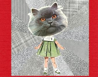 Cat Head Girl // Collage Art Print