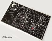 Mexican Folk Art - Retablo Folk Art, Original Block Print, Heart Home, Neighborhood, Starry Night, Cat Linocut Hand-Pulled Print