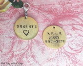 """I Was Rescued .. Pet Tag .. FRONT & BACK INFO .. Hand Stamped 3/4"""" antiqued silver, copper, gold .. metal disc with clasp .. customize order"""