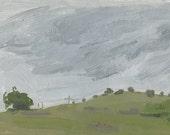 Rainy Day in Spring, near Pompadour Bluff, Ashland, OR: Original Framed Oil Painting Plein Air Landscape