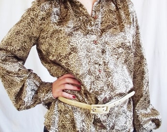 Vintage Blouse - Lady Manhattan - 1970s Disco Style - Polyester - Golden Brown - American Hustle