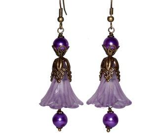 SALE Purple Flower Dangle Earrings Antiqued Brass Floral Buds Dangles Pearl Glass Beads Handmade by Victorian Scarlett Designs - OB163
