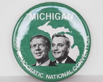 Vintage 1980 Michigan for Jimmy Carter - Walter Mondale Democrat Presidential Campaign Pinback Button