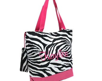 Personalized Tote Bag Zebra Hot Pink Monogrammed Wedding Dance