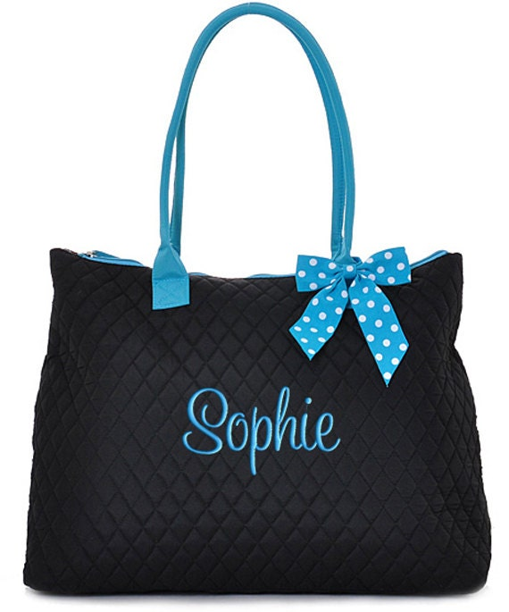 Personalized Tote Bag Black Blue Polka Dots Dance Cheer Gym