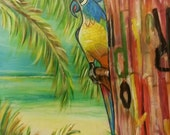 Carved Wooden Parrot in Negril, Jamaica - 11 x 14 Original Acrylic Painting