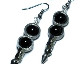 Steampunk Earrings - Black Onyx - Silver