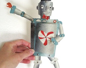Valentine's Day Robot Printable PDF Paper Doll Set Blue, Gray, Orange, Paper Toy