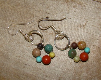 SALE Multi Semi Precious Stone Earrings   Turquoise, Jasper, Adventurine, Jade Handmade Wire Wrapped Earwires 1.99 SHIPPING USA