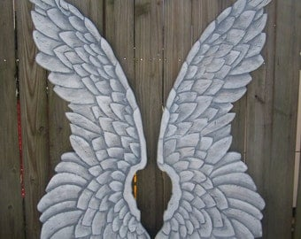 Giant Wood Carved Angel Wings Large and Dramatic in White or Gold 4ft Tall
