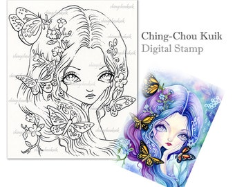 Blue Illusion - Digital Stamp Instant Download / Fantasy Art by Ching-Chou Kuik