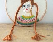 WINTER SALE Hand embroidery hoop art portrait in wool