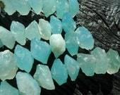 raw aqua blue chalcedony beads, rough blue chalcedony beads, chalcedony rondelle beads, aqua blue agate stone beads, chunky stone beads