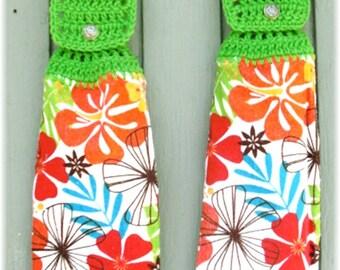Hanging Kitchen Towels ,Crochet Button Top, Matching Pair,Hostess Gift, Hanging Kitchen Towel Set Flowers