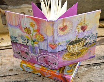 The Art of Tea. Tea with Lady lavender. Handbound journal sketchbook notebook for poetry recipes creativity or gratitude. Exclusive design.
