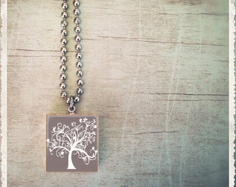 Scrabble Game Tile Jewelry - Silver Gray Tree - Scrabble Pendant Charm - Customize - Choose Your Style