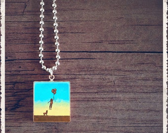 Scrabble Game Tile Jewelry - Up Up and Away - Scrabble Pendant Charm - Customize - Choose Your Style