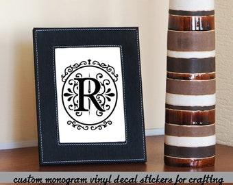 Elegant vine Monogram Vinyl decals, Oval , Name Initials, Fancy Family name decor