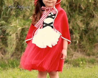 Little Red Riding hood DRESS tutu dress red gingham retro apron dress costume for girls and toddlers