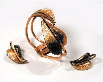 50s Matisse 'Leaflet' Bracelet and Earrings, Brown Gold Copper Clamper Demi Parure Set