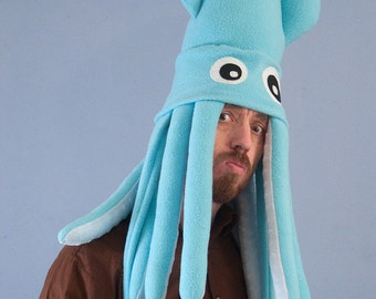 Large Fleece Squid Hat - Light Turquoise